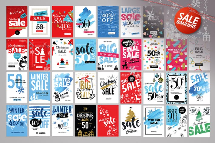 Thumbnail for Set of Winter Mobile Sale Banners