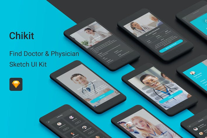 Thumbnail for Chikit - Find Doctor & Physician Sketch UI Kit