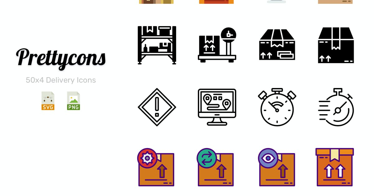 Prettycons - 200 Delivery Icons Vol.1 by Prettycons