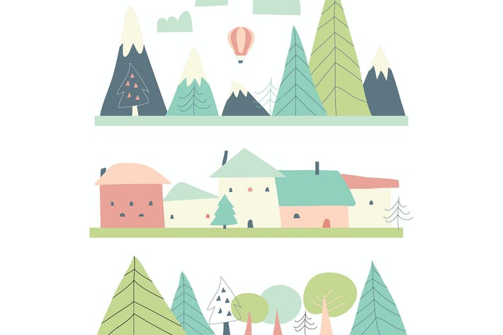 Thumbnail for Cartoon spring landscape with houses,mountains and