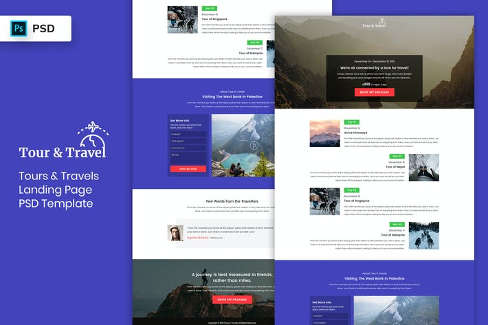 Thumbnail for Tour & Travels - Landing Page PSD Template-02