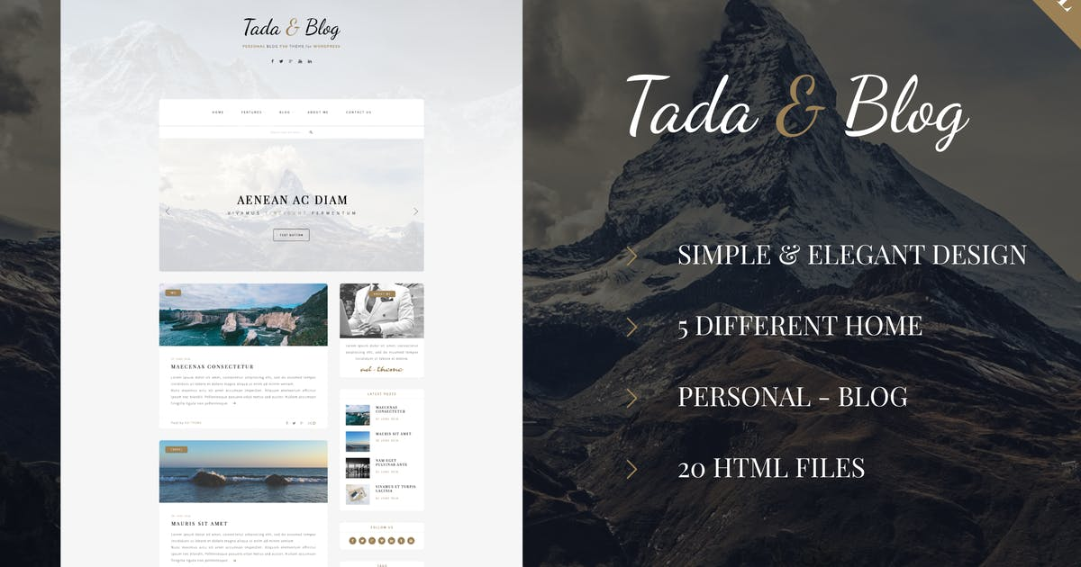 Download Tada & Blog - Personal Blog HTML Theme by ad-theme