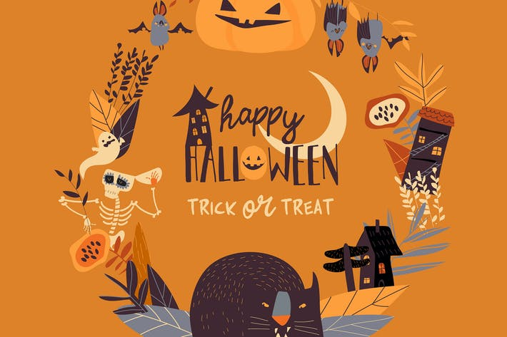 Thumbnail for Vector cartoon wreath with halloween elements and
