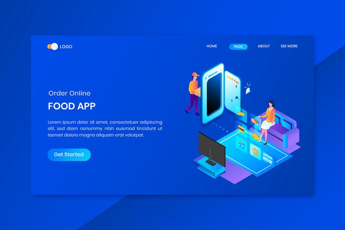 Thumbnail for Fast Delivery Isometric Concept Landing Page