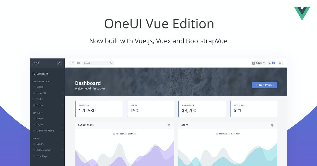 Download OneUI Vue Edition - Vuejs Admin Dashboard Template by pixelcave