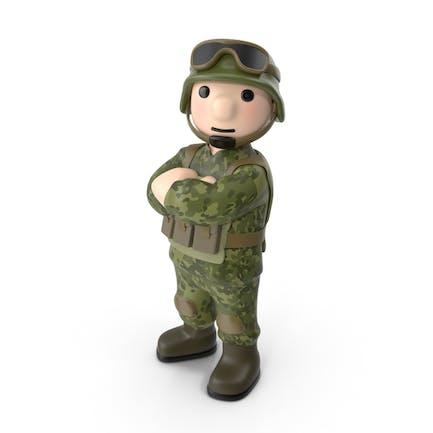 Soldado de brazos cruzados