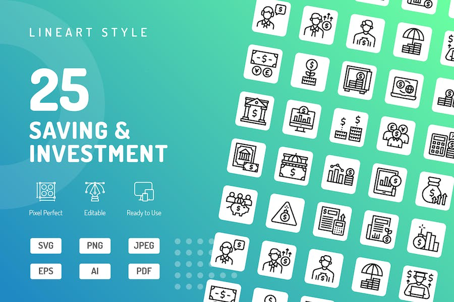 Saving & Investment Line Icons