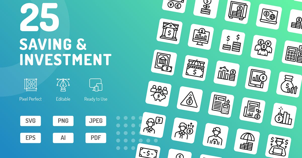 Download Saving & Investment Line Icons by kerismaker