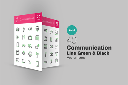 40 Communication Line Green & Black Icons