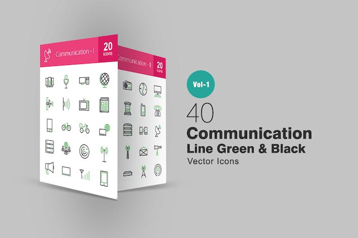 Thumbnail for 40 Línea de comunicación Íconos verde y negro
