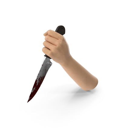 Hand hält ein blutiges Messer
