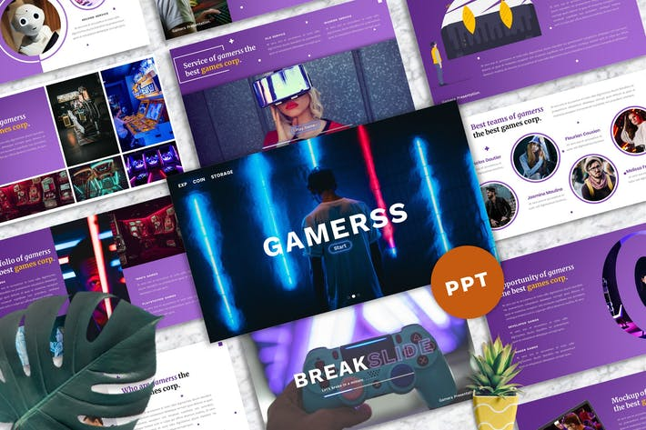 Thumbnail for Gamerss - Games Business PowerPoint Template