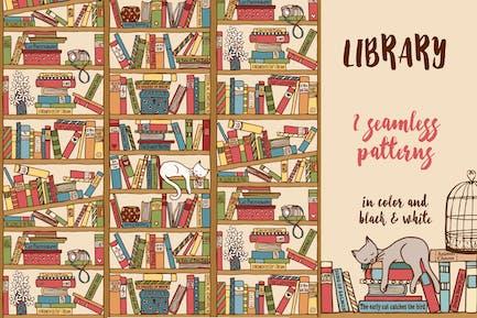 Bibliothek - Handgezeichnetes nahtloses Muster