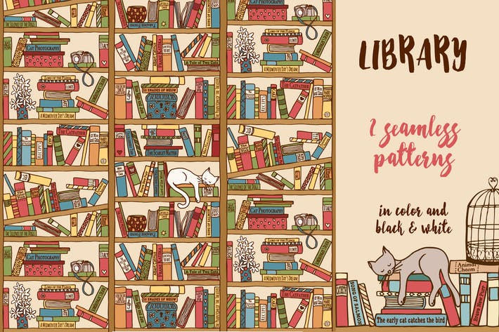 Thumbnail for Library - Hand Drawn Seamless Pattern