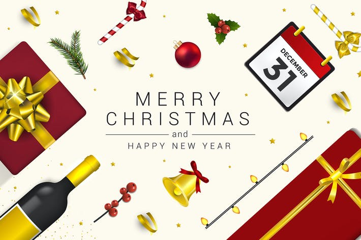 Thumbnail for Merry Christmas and Happy New Year greeting cards