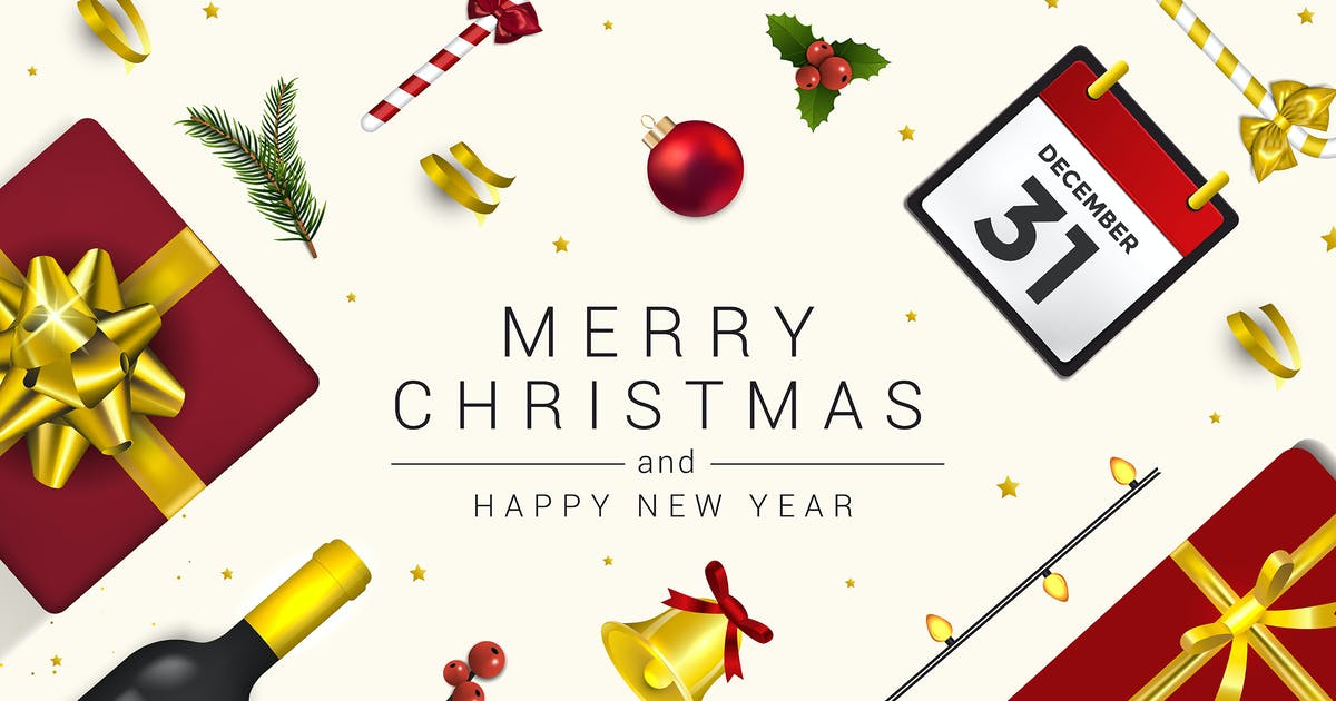 Download Merry Christmas and Happy New Year greeting cards by graphics4u