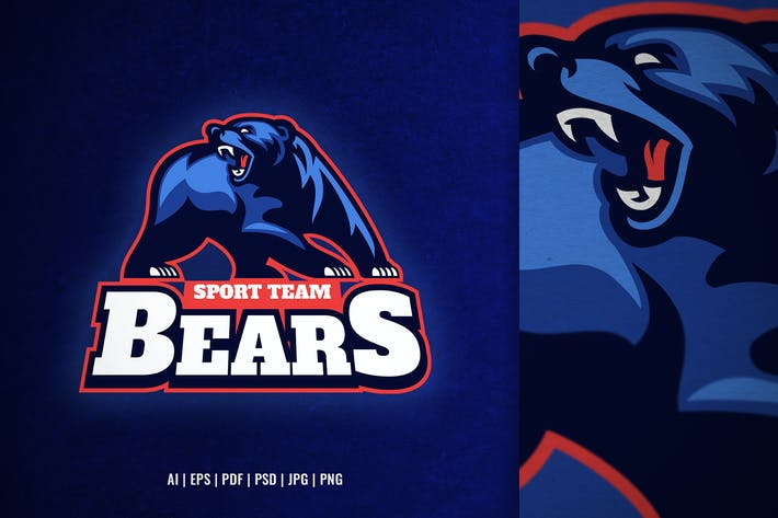 angry bear mascot sport and e-sport logo