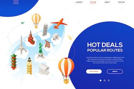 Hot Deals, Beliebte Routen - isometrische Illustration