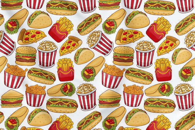 Fast Food Seamless Pattern - product preview 1