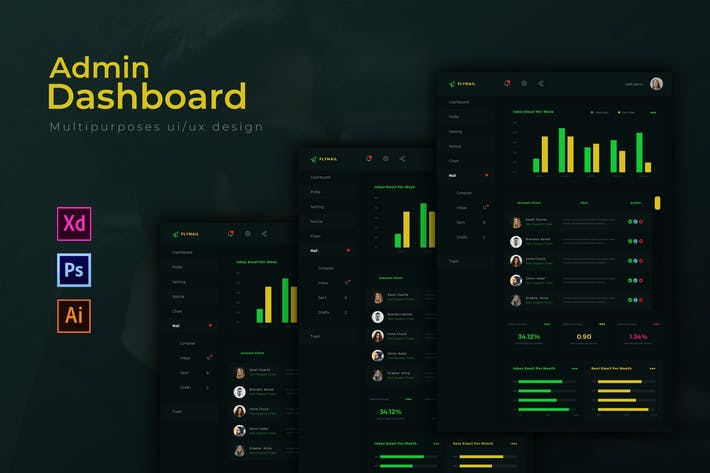 Thumbnail for Flymail Dashboard| Admin Template