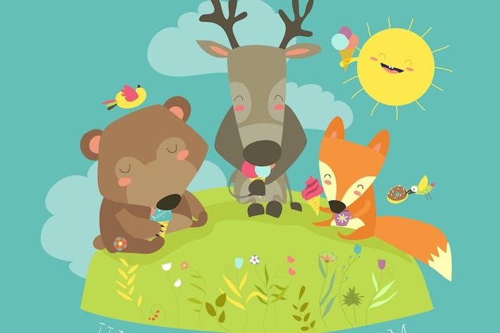 Cute animals eating ice cream. Vector illustration