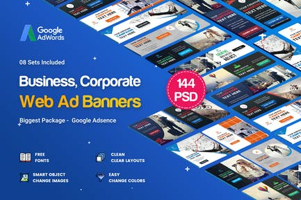 Multipurpose Banners Ad - 144PSD [ 08 Sets ]