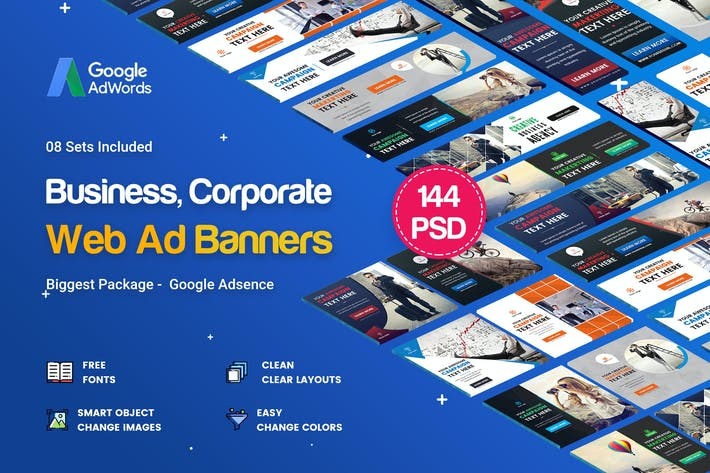 Thumbnail for Multipurpose Banners Ad - 144PSD [ 08 Sets ]