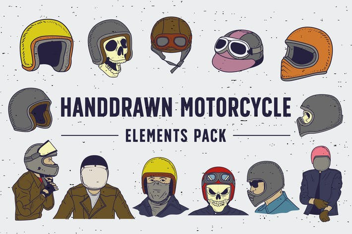 Thumbnail for Handdrawn Motorcycle Elements Pack