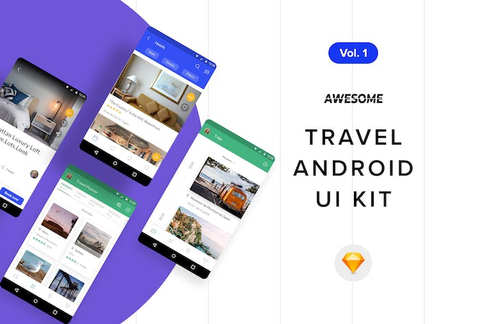 Thumbnail for Android UI Kit - Travel Vol. 1 (Sketch)