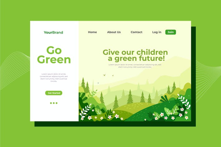 Thumbnail for Go Green Landing Page Illustration