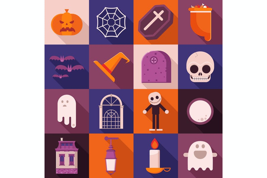 Halloween Card with Square Icons