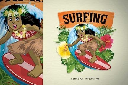 Cartoon Hawaiian Girl Surfer Design