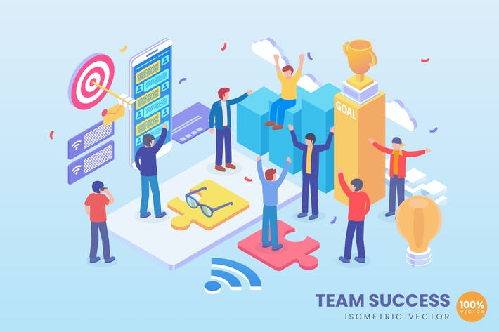 Thumbnail for Isometric Team Success Vector Concept