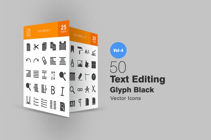 Thumbnail for 50 Text Editing Glyph Icons