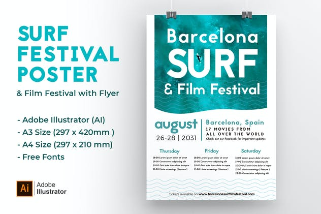 Blue Surf, Sea and Film Festival Poster & Flyer