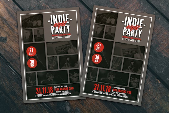 Thumbnail for Indie Party Night Flyer Poster