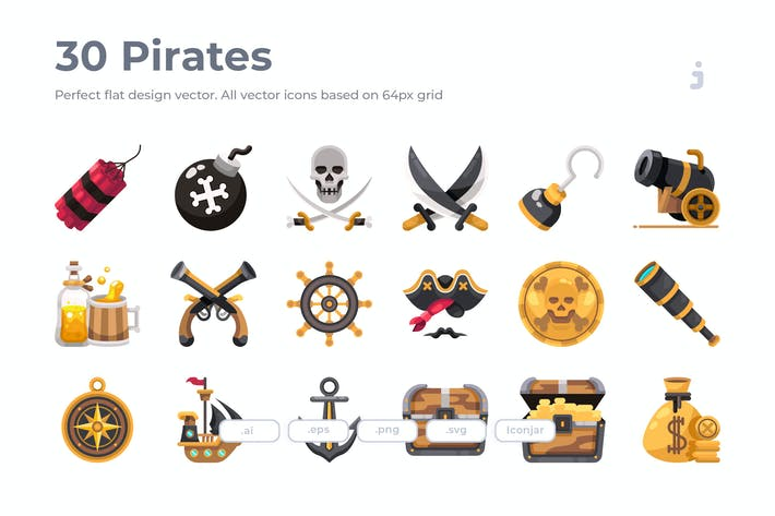Thumbnail for 30 Pirates Icons - Flat