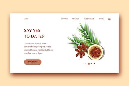 date modèle de page de destination fruit
