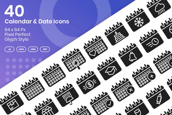 Thumbnail for 40 Calendar & Date Icons Set - Glyph