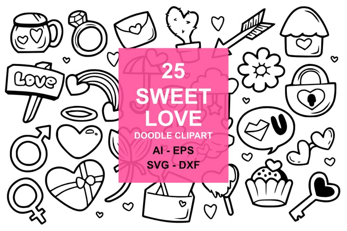 Cover Image For 25 Sweet Love Doodles