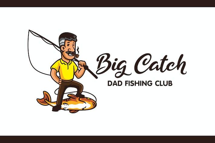 Thumbnail for Cartoon Retro Angler Character Mascot Logo