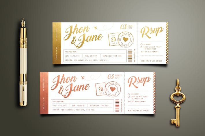 Thumbnail for Elegant Gold Wedding Invitation Ticket