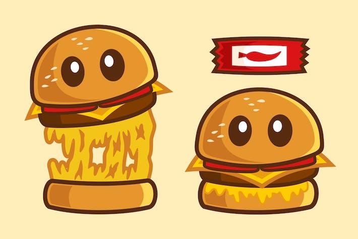 Leckeres Essen Mozzarella Burger Zeichentrickfigur