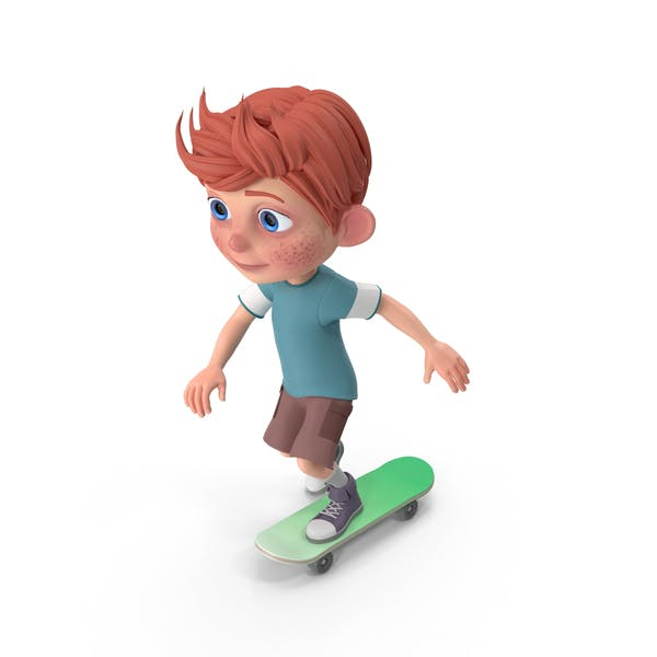 Thumbnail for Cartoon Boy Charlie Skateboarding