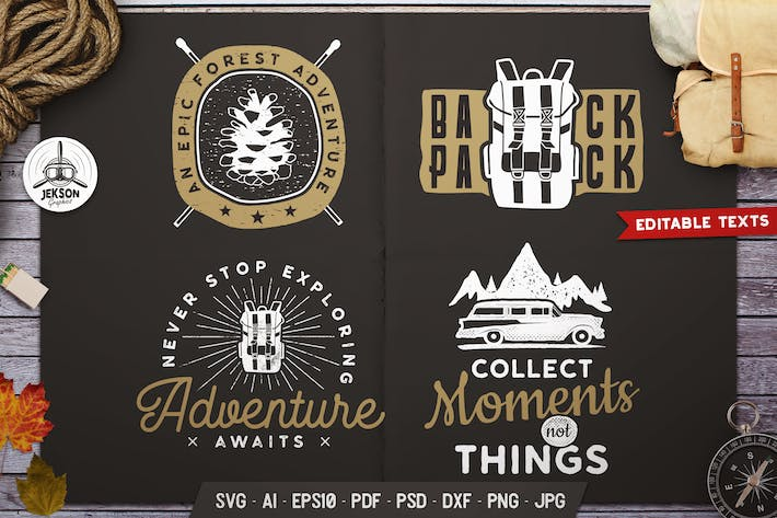 Thumbnail for Travel Logos Set, Retro Camp Badges. Camp Prints