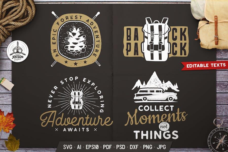 Travel Logos Set, Retro Camp Badges. Camp Prints