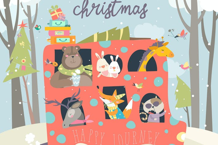 Thumbnail for Cute animals traveling by bus. Vector illustration