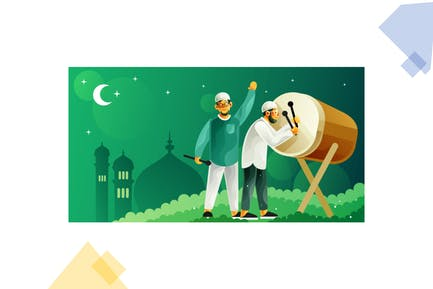 Hitting bedug for celebrating Ramadan and eid Fitr
