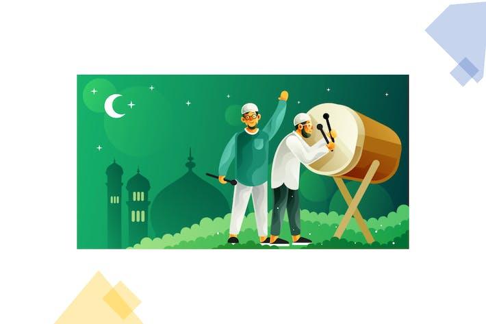 Thumbnail for Hitting bedug for celebrating Ramadan and eid Fitr