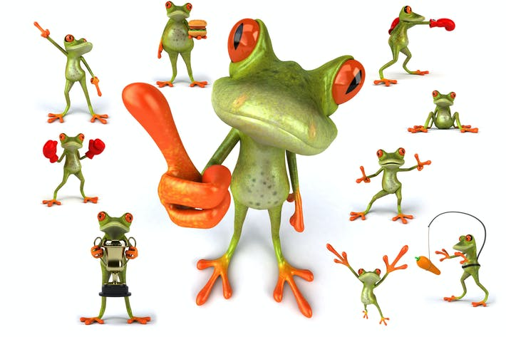 10 веселых зеленых лягушек!
